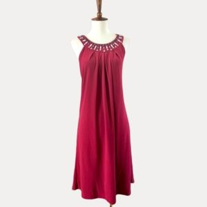 WHBM Embellished Tea Length dress in Cranberry